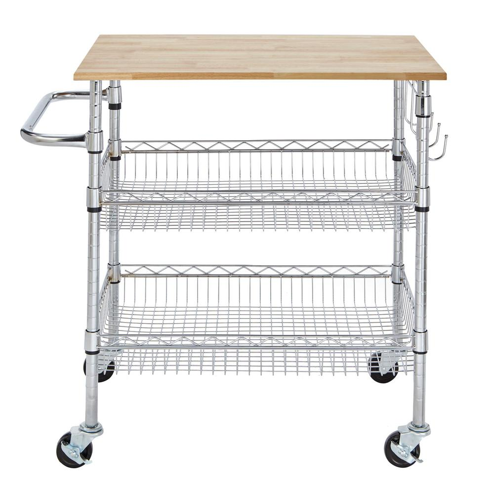 kitchen carts table round stylewell gatefield chrome large cart with rubber wood top