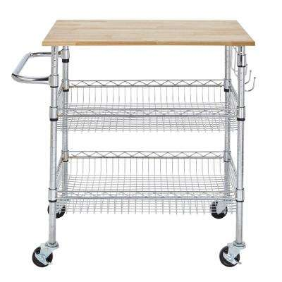 rolling kitchen carts remodels under 5000 cutting board islands utility tables gatefield chrome large cart with rubber wood top