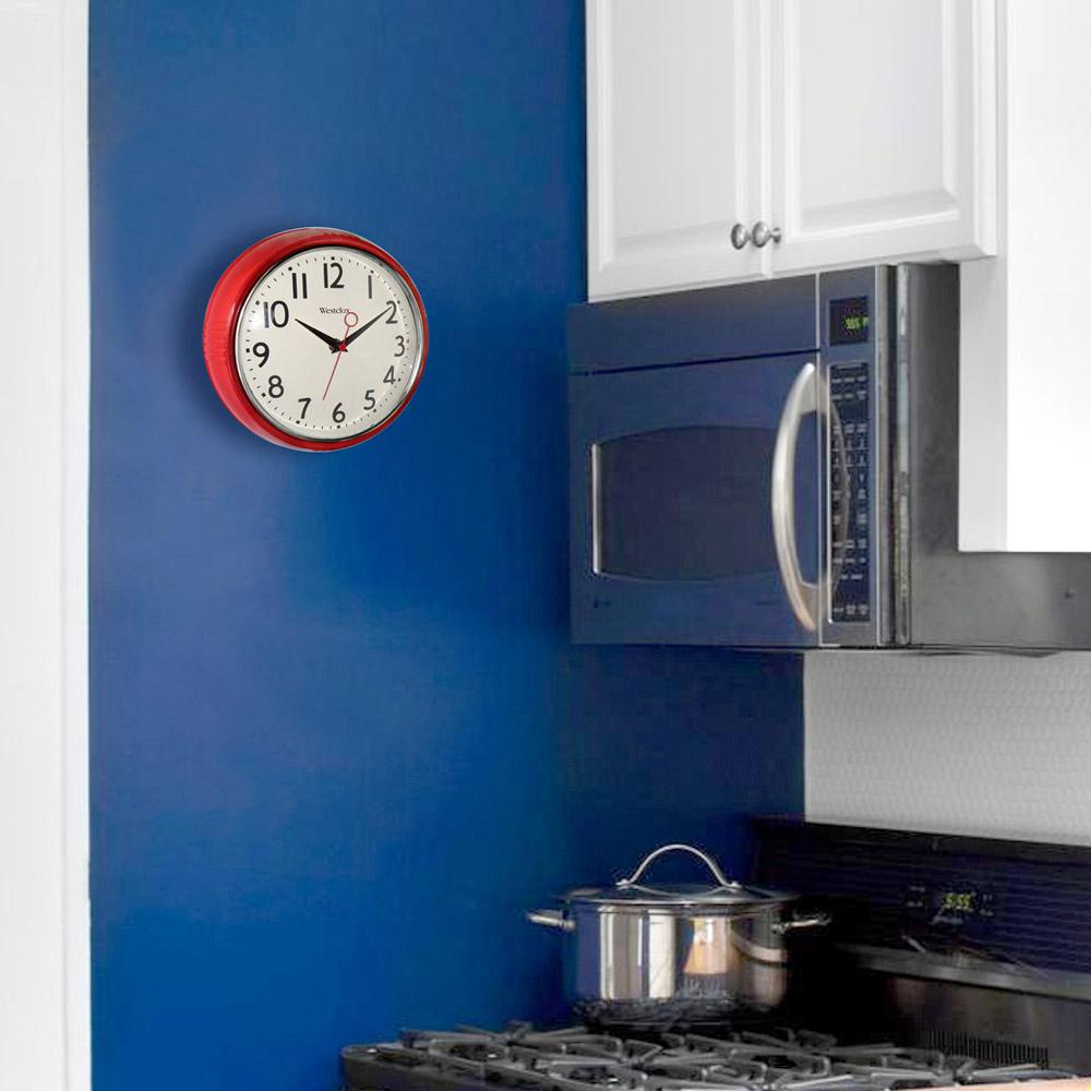 blue kitchen wall clocks curtains cheap westclox 9 5 in red retro clock 32042r the home depot