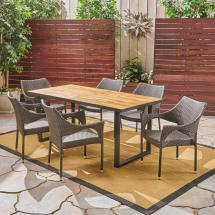 Noble House Welch Teak Brown 7-piece Wood And Multi-brown