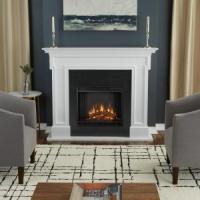 Real Flame Thayer 54 in. Electric Fireplace in White-5010E ...