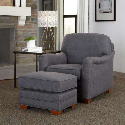 gray accent chair with ottoman hanging chairs johannesburg the home depot magean grey polyester arm