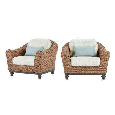 home depot lounge chairs wing ikea outdoor patio the camden light brown wicker chair with sunbrella fretwork mist cushions 2 pack