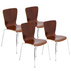 Bentwood Dining Chair Baby Recliner Canada Lumisource Stacker Walnut With Chrome In Legs Set Of 4