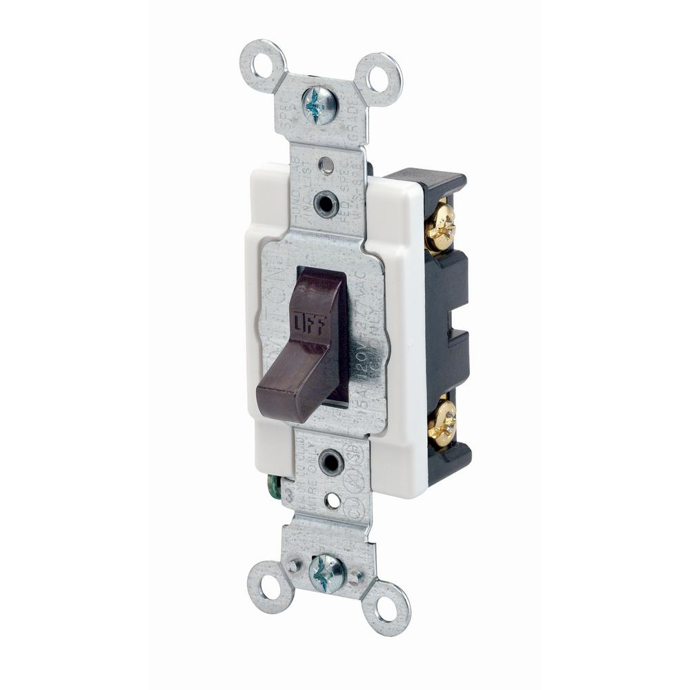 medium resolution of 15 amp commercial grade single pole back wired toggle switch brown