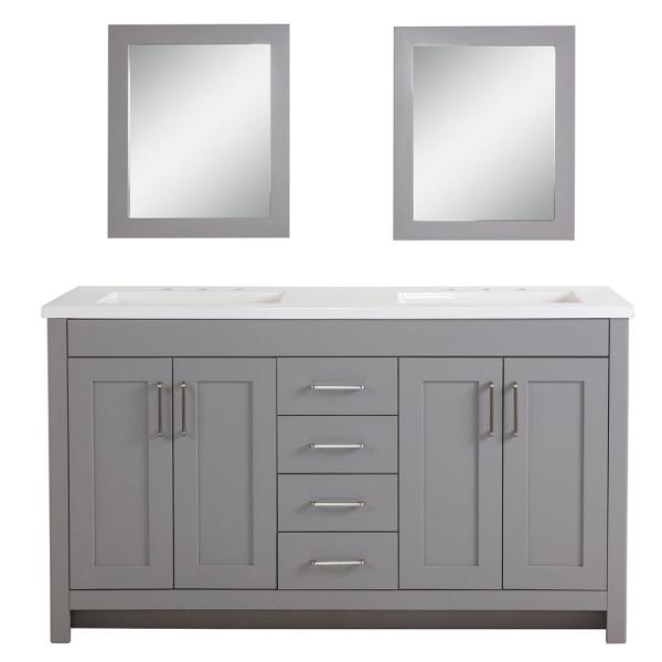 Home Decorators Collection Westcourt 61 In W Bath Vanity In Sterling Gray With Vanity Top In White With White Sinks And Mirrors Wt60p4 St The Home Depot