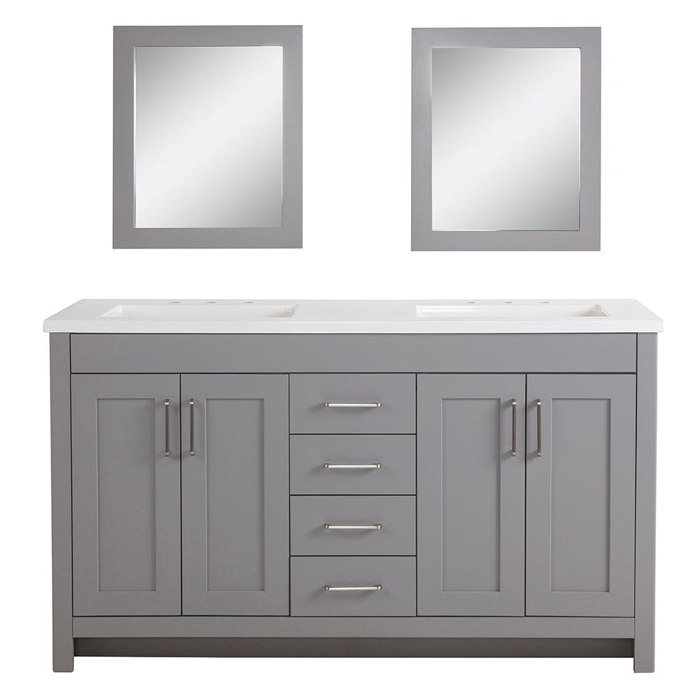 Vanities Bathroom Home Decorators Collection Westcourt 61 In W Bath Vanity In Sterling Gray With Vanity Top In White With White Sinks And Mirrors