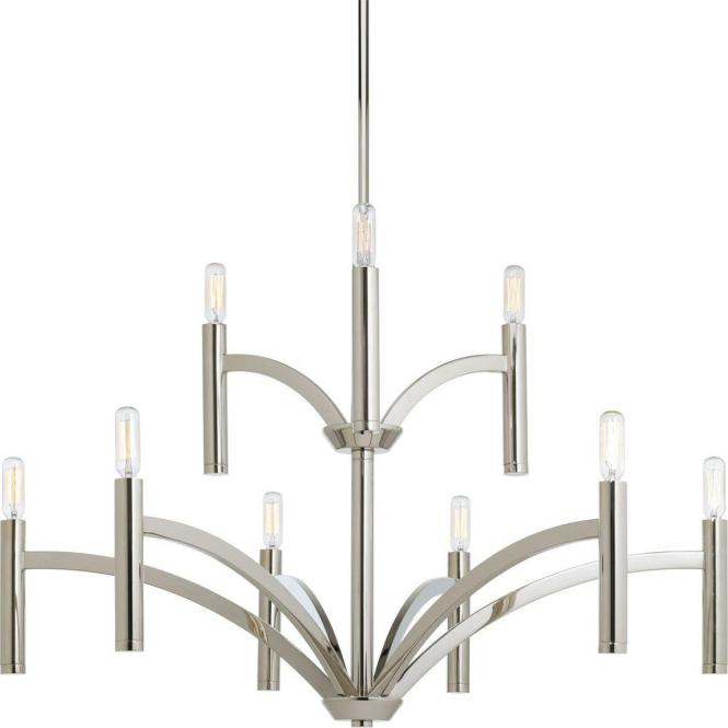 Progress Lighting Draper Collection 9 Light Polished Nickel Chandelier