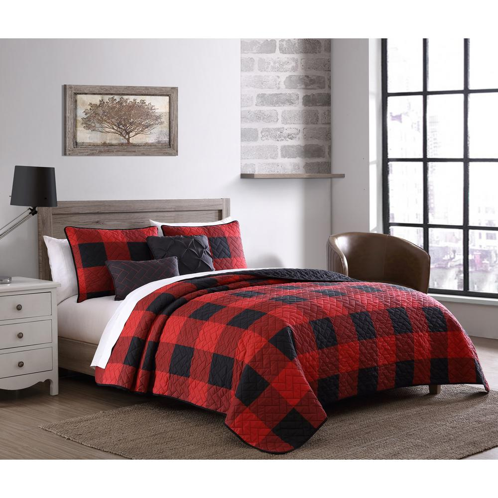unbranded buffalo plaid 7 piece red and black king comforter set bfp7bbquenghrb the home depot