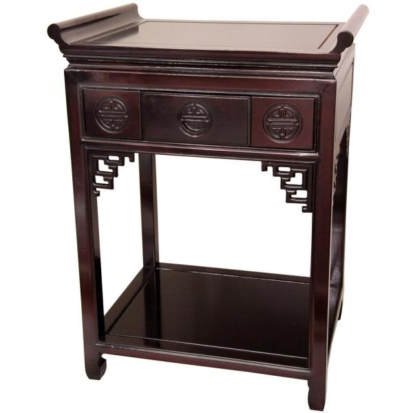 Tall Altar Red End Table-stpj100brwd32h - Home Depot