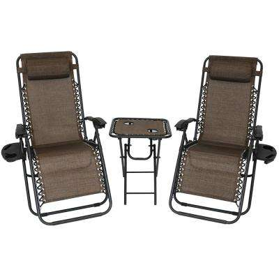beach chairs home depot cheap patio lounge brown the zero gravity dark sling with side table set of 2