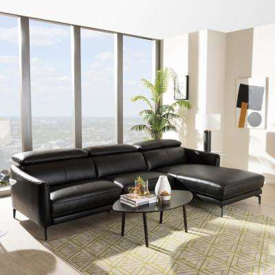 leather living room furniture sectionals chaise in 4 people l shape faux paige 2 piece black sleep sectional
