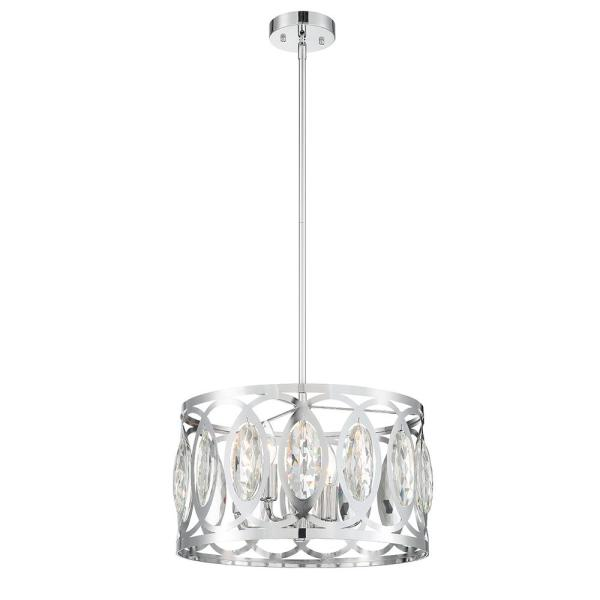 Easylite 4-Light Chrome Pendant with Clear Crystal Shade