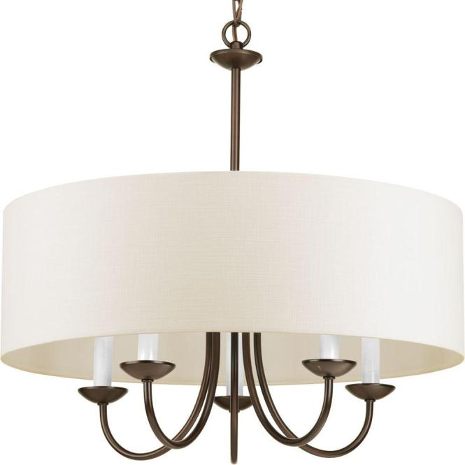 5 Light Antique Bronze Chandelier With Beige Linen Shade