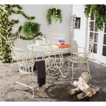 Patio Table And Chairs Set 5 Wrought Iron Furniture White