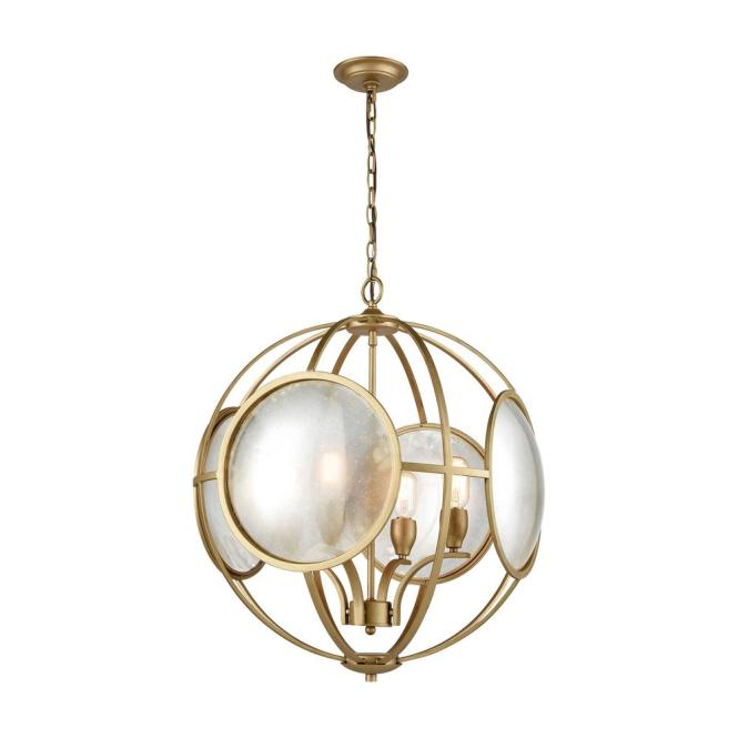 An Lighting Le Style Metro 4 Light Gold And Antique Mercury Glass Chandelier