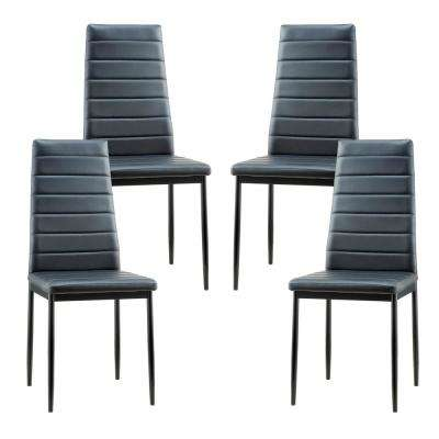 leather dining chairs modern french cane back faux fabric kitchen stein black vegan chair set of 4