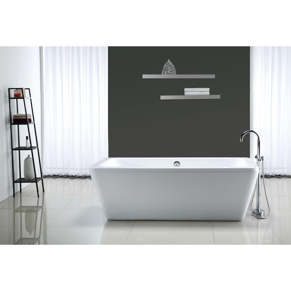 Ove Decors Kido   Ft Center Drain Bathtub In White Kido  The Home Depot