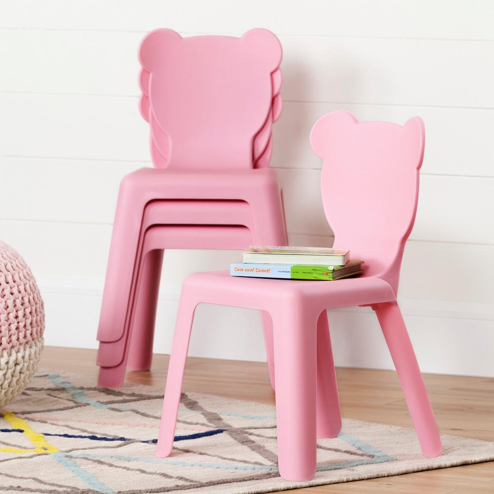 South Shore Crea Pink Plastic Stacking Kids Chair (Set of