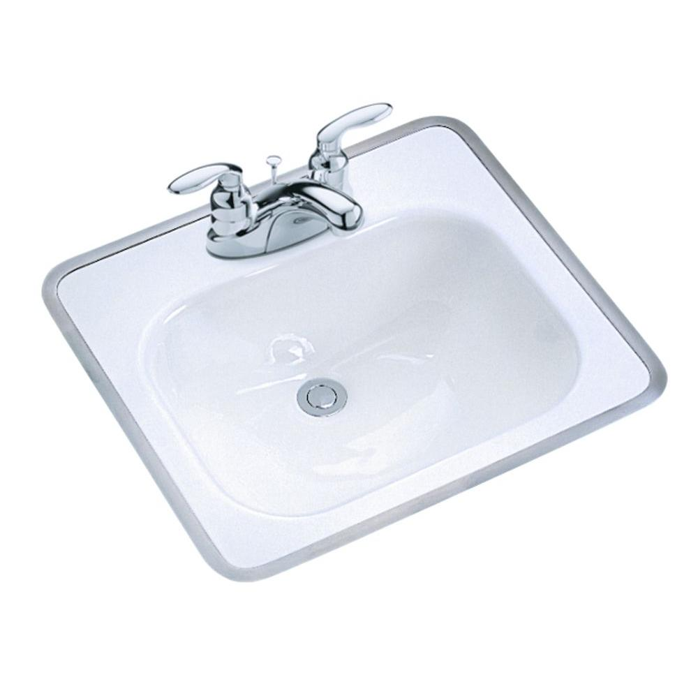 KOHLER Tahoe DropIn Cast Iron Bathroom Sink in White with Overflow DrainK289040  The Home