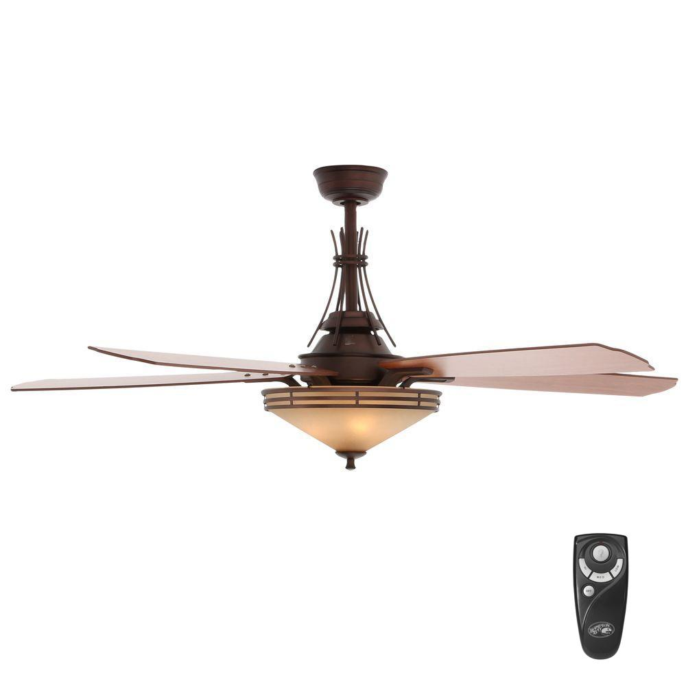 Indoor Oil Brushed Bronze Ceiling Fan With Light