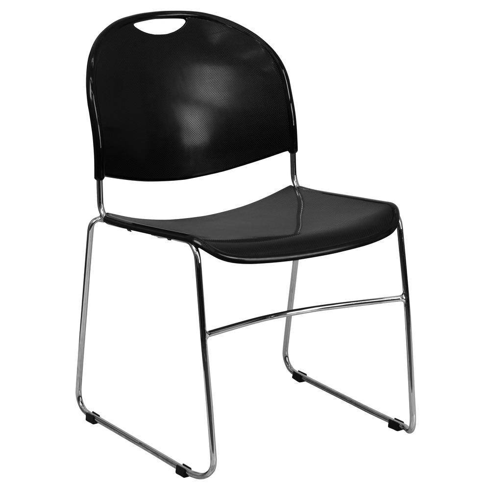 chair photo frame hd sleeper bed flash furniture black plastic chrome stack cga rut 1293 bl the home depot