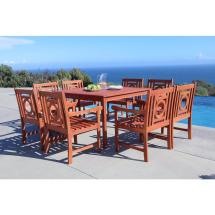 Vifah Malibu 9-piece Square Patio Dining Set-v1401set14
