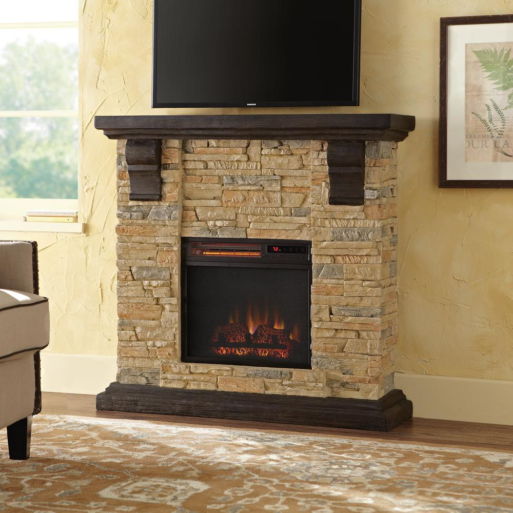 Home Decorators Collection Highland 40 in Faux Stone Mantel Electric Fireplace in Tan102907