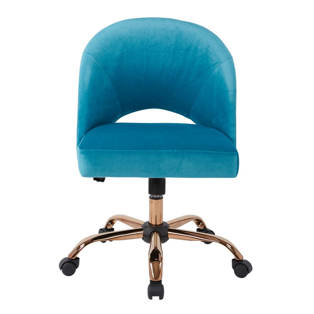 aqua desk chair best outdoor rocking chairs ave six lula office in cruising fabric with rose gold base