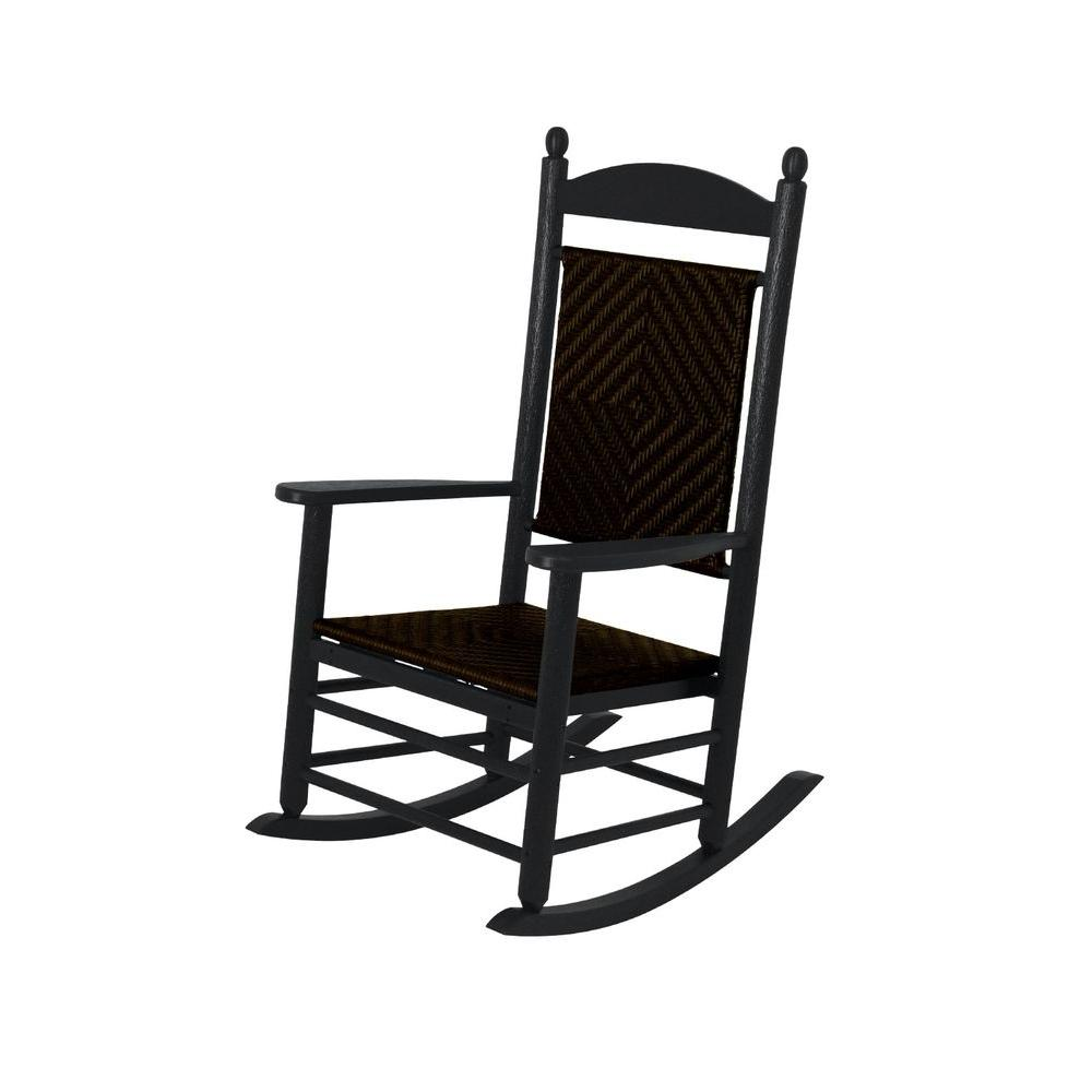 woven rocking chair antique white round table and chairs polywood jefferson black patio rocker with cahaba weave