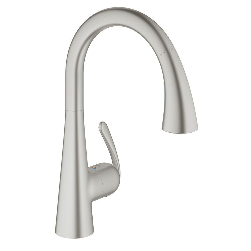 brushed nickel kitchen faucet with sprayer self sharpening knives grohe ladylux3 cafe single handle pull down dual spray in infinity finish