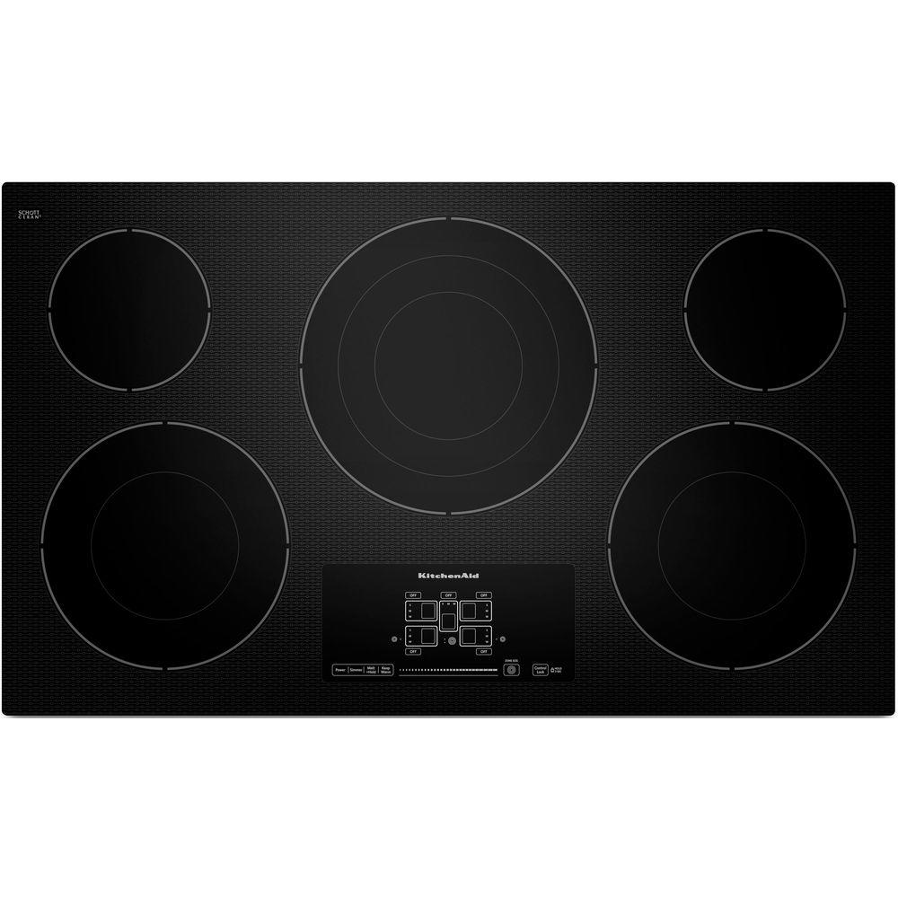 kitchen aid cooktop tables for cheap kitchenaid 36 in radiant ceramic glass electric black with 5 elements including triple