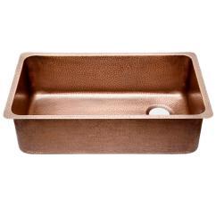Copper Kitchen Sinks Metal Cabinet Sinkology David Chef Series Undermount Sink 31 In 0 Hole Ergonomic Single Bowl Hammered Antique