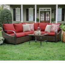 Red Wicker Patio Sets with Cushions
