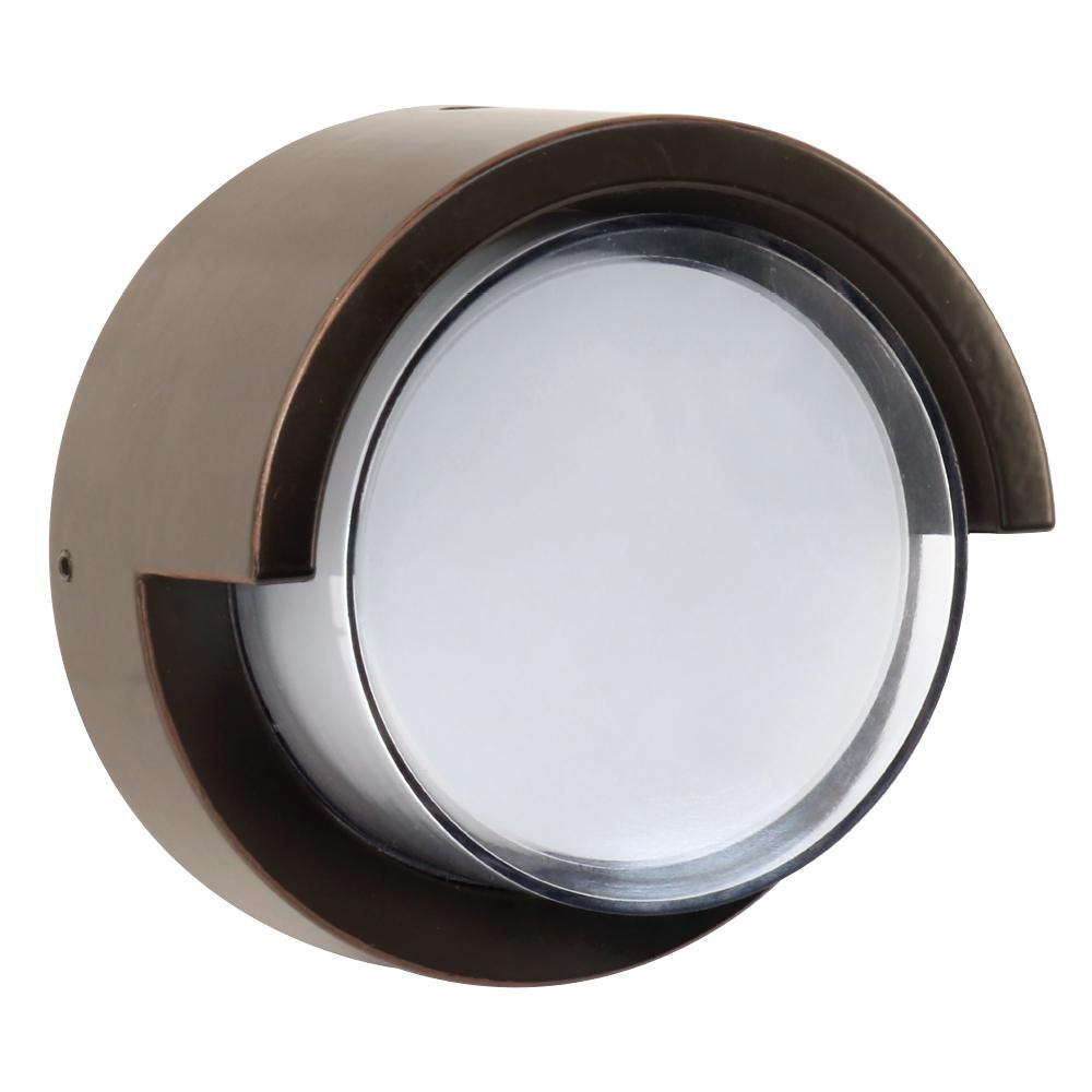 medium resolution of 7 5 watt bronze outdoor integrated led low profile round wall pack light
