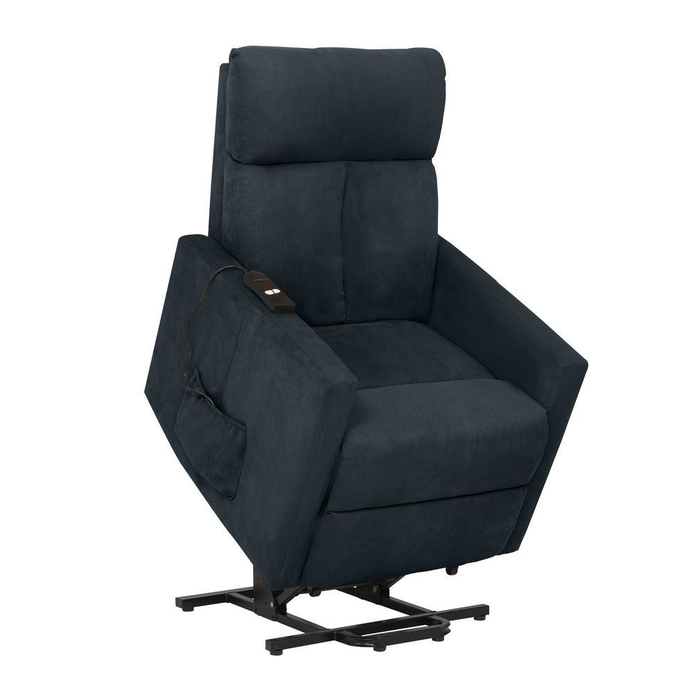 power lift chair shabby chic nursing prolounger medium blue microfiber recliner