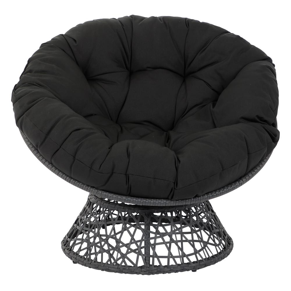 papasan chair stool cushions modern reading osp designs beige with black cushion and frame