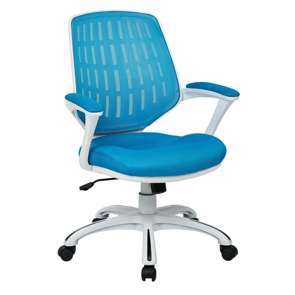 turquoise office chair pottery barn manhattan review ave six blue mesh fabric with white frame calvin clva26 w7 the home depot