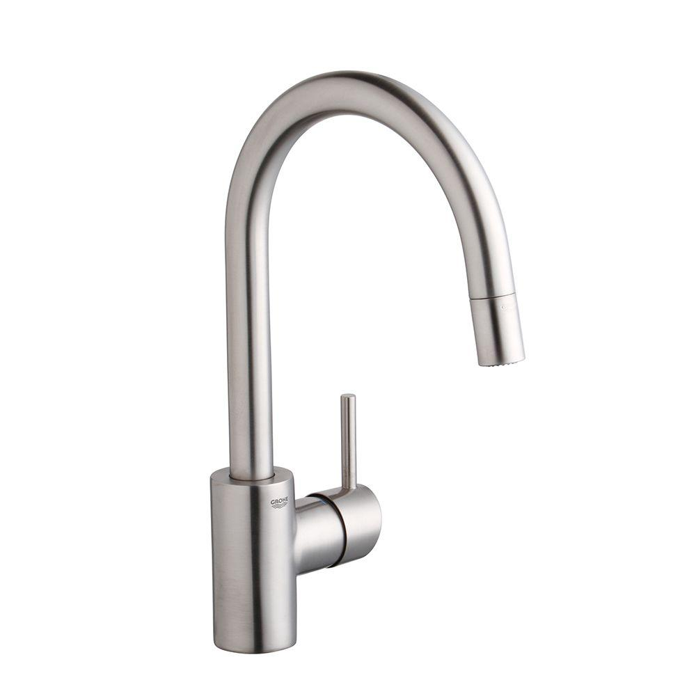 grohe concetto kitchen faucet tables for small kitchens single handle pull down sprayer with dual spray in supersteel