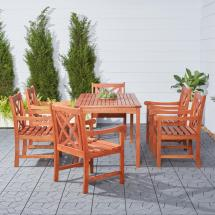Vifah Wood Outdoor Dining Set 7-piece-v98set13 - Home