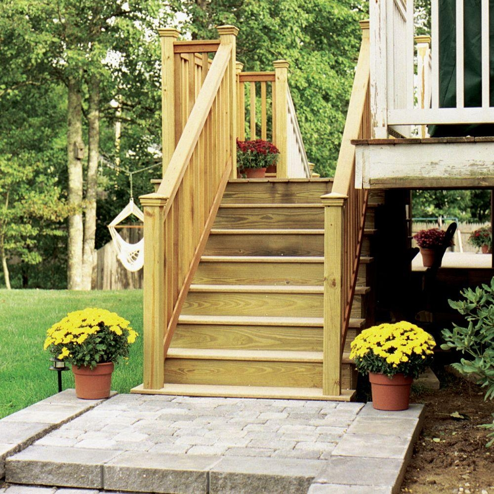 5 Step Ground Contact Pressure Treated Pine Stair Stringer 368912 | Outdoor Wood Steps Home Depot | Treated Wood | Handrail | Spiral Staircase | Staircase | Concrete Steps