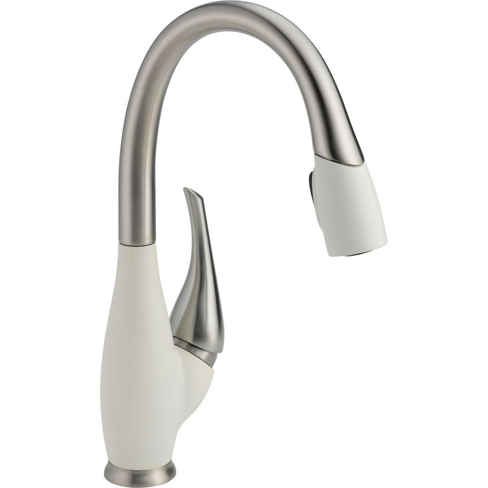 white kitchen faucet outdoor dimensions delta fuse single handle pull down sprayer with magnatite docking in stainless