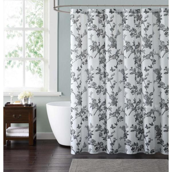 Style 212 Lisborn Black 72 In. White And Shower Curtain-sc1901bk-6200 - Home Depot