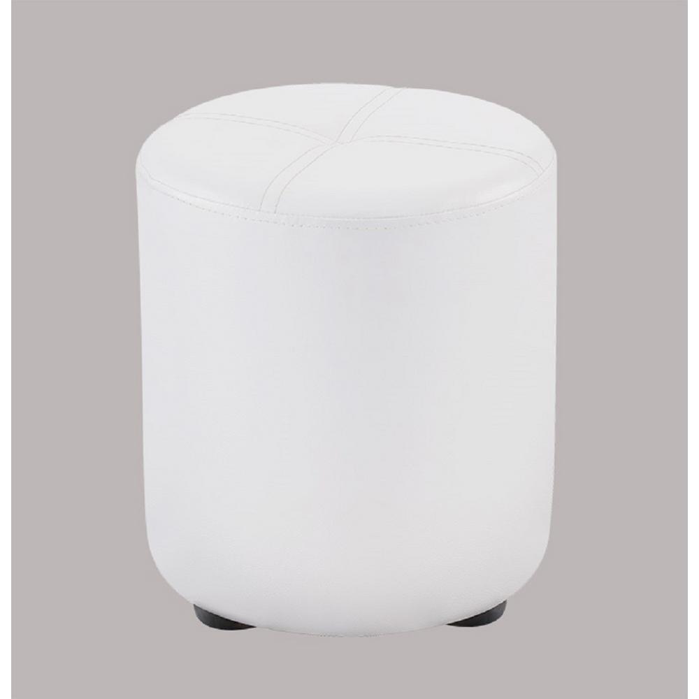 kings brand furniture pouf white vinyl round ottoman w 5123 the home depot