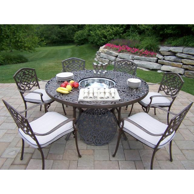 8-piece aluminum outdoor dining set with round table 6-cushioned