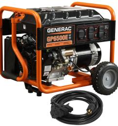 generac gp6500e 6 500 watt gasoline powered electric start portable generator with cord [ 1000 x 1000 Pixel ]