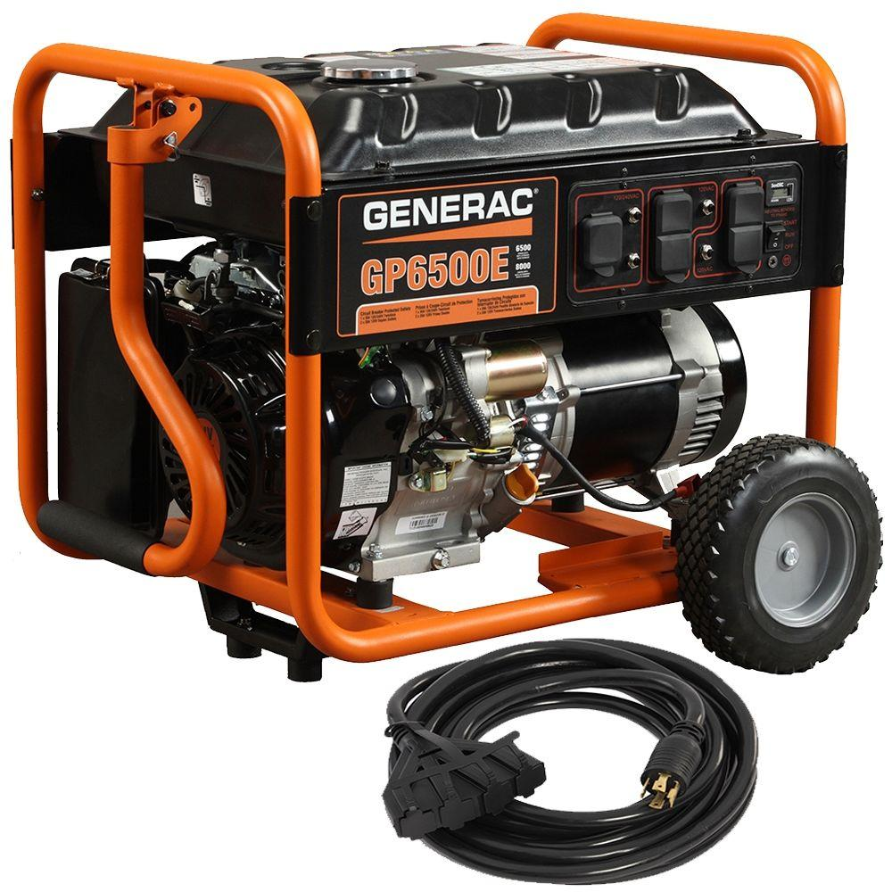 hight resolution of generac gp6500e 6 500 watt gasoline powered electric start portable generator with cord