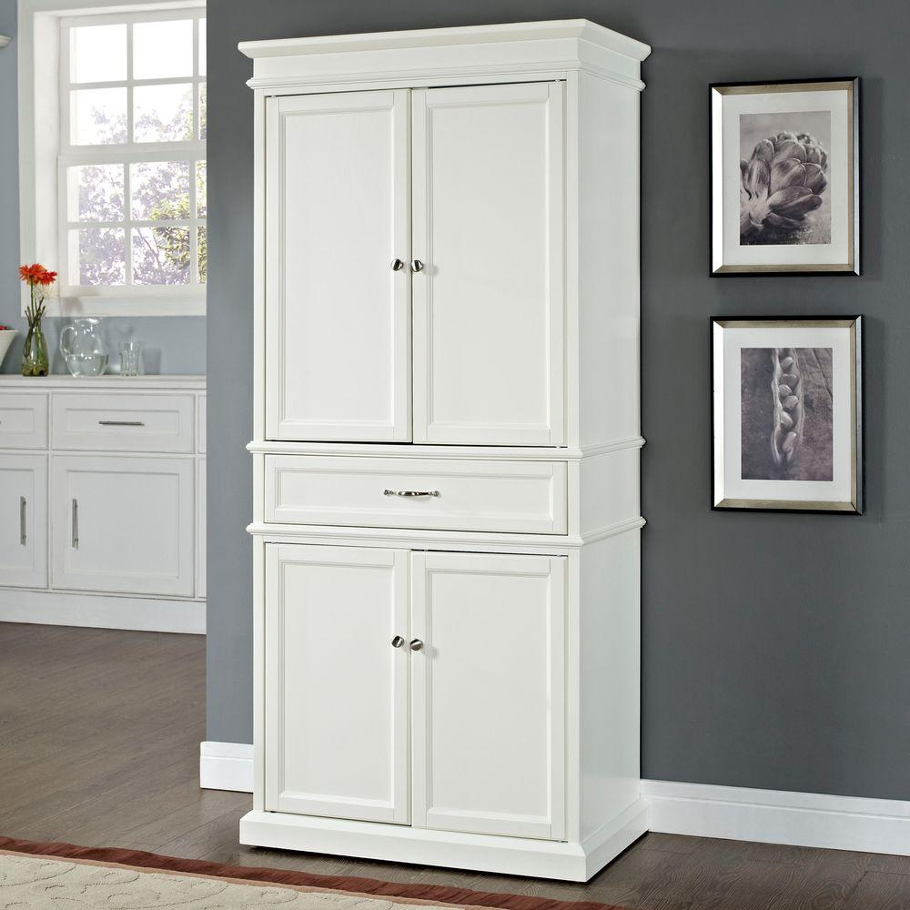 storage cabinets kitchen island top crosley parsons white cabinet cf3100 wh the home depot