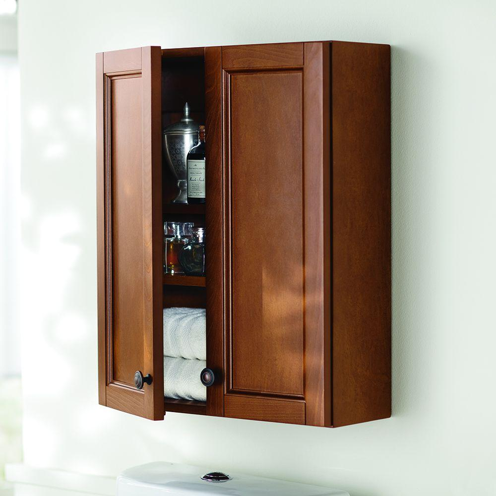 Home Decorators Collection Catalina 21 In W X 26 In H X 8 In D Over The Toilet Bathroom Storage Wall Cabinet In Amber Caoj25com A The Home Depot
