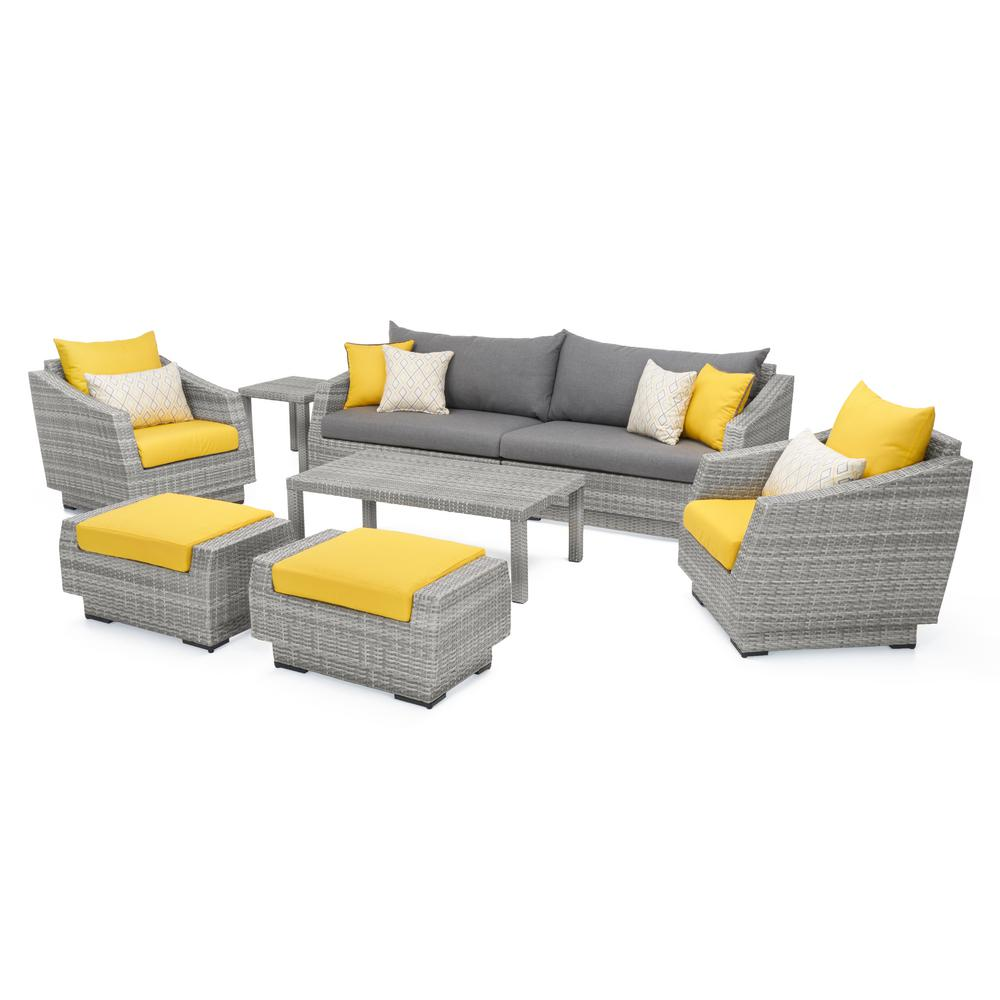 yellow and grey chair big joe milano bean bag canada rst brands cannes 8 piece all weather wicker patio sofa club seating set with sunbrella sunflower cushions